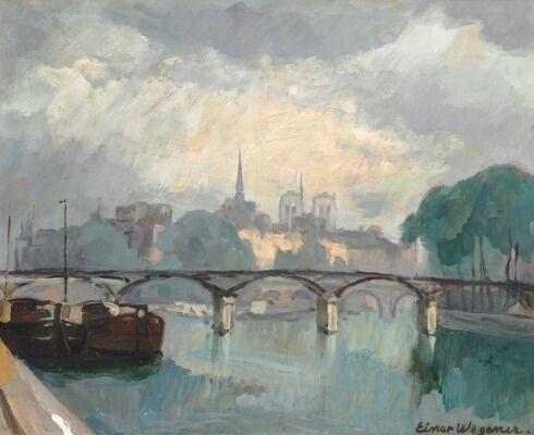 """Einar Wegener: """"Pont Neuf"""". View from the Seine in Paris towards the Pont des Arts. Signed Einar Wegener. Oil on cardboard. 46×55 cm."""