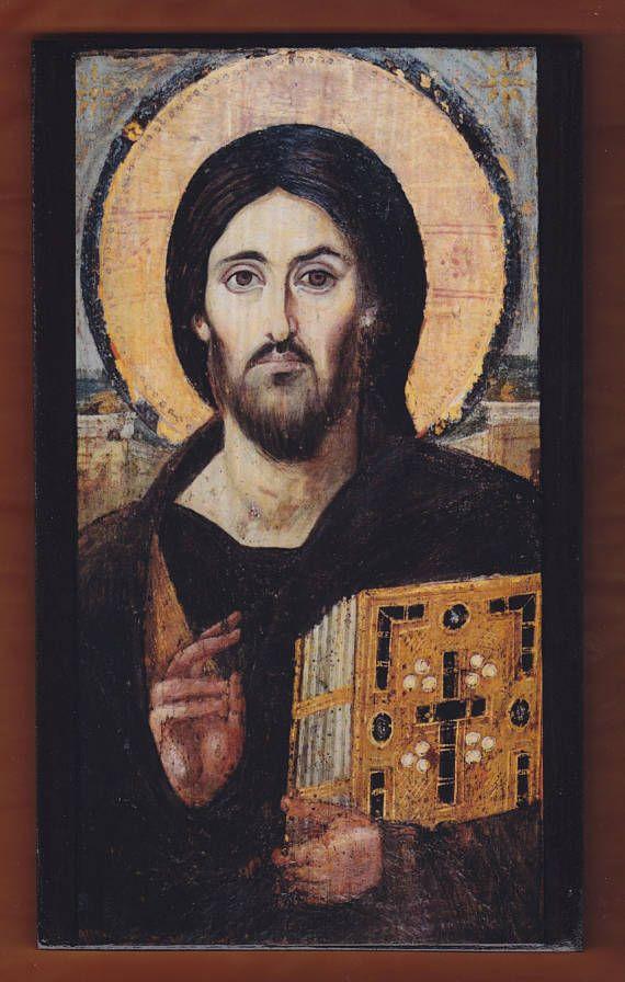 Jesus Christ Pantocrator Greek Orthodox handmade Icon on