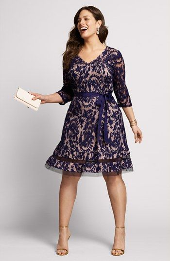Adrianna Papell Lace Fit  Flare Dress (Plus Size) | Nordstrom