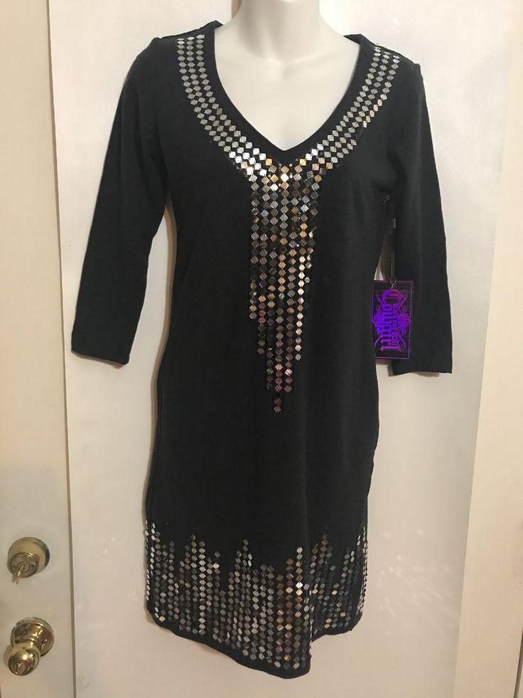Rock & Roll Cowgirl Size Medium Embellished Black Tunic Dress Cotton Blend NWT #RockRollCowgirl #SheathDressTunicDress #PartyCocktail