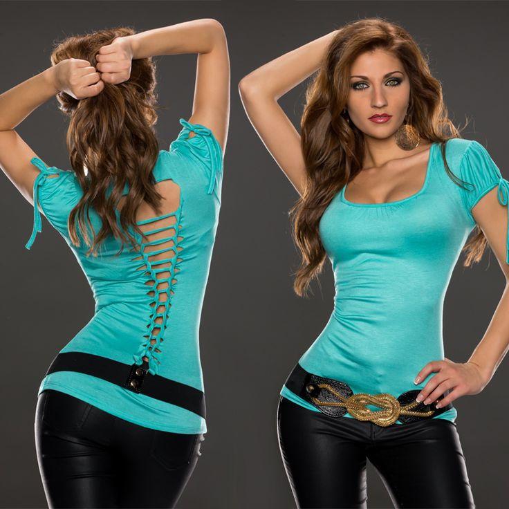 Fashion Moda T-shirt | Amoruccio.dk ♥ Virkelig sød t-shirt med flotte slash detaljer på ryggen, og bindesnøre på ærmerne.♥ #tshirt #fashion #modetøj #stylish #mode #onlineshopping #clothing #onlinemode #womenswear #style #outfit #moda #shopping