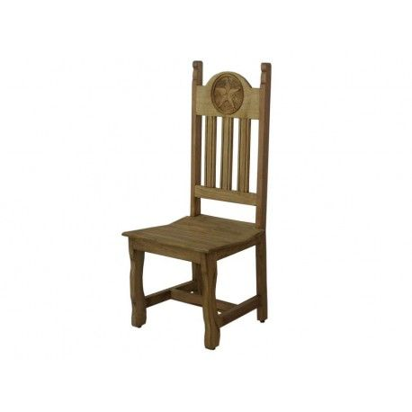 Rustic Dining Chair With Carved Texas Star #chairs