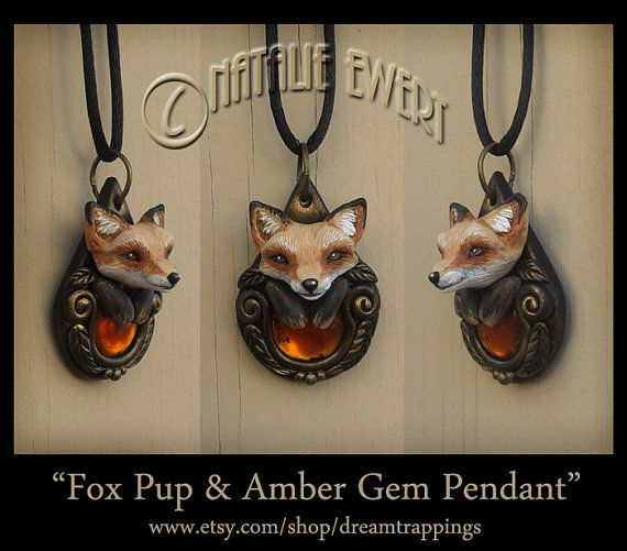 Little Fox Pup & Amber Gem Sculpted Pendant, Polymer Clay Animal Jewelry Anthro Fairy Tale Gothic Necklace Nouveau Victorian Nature