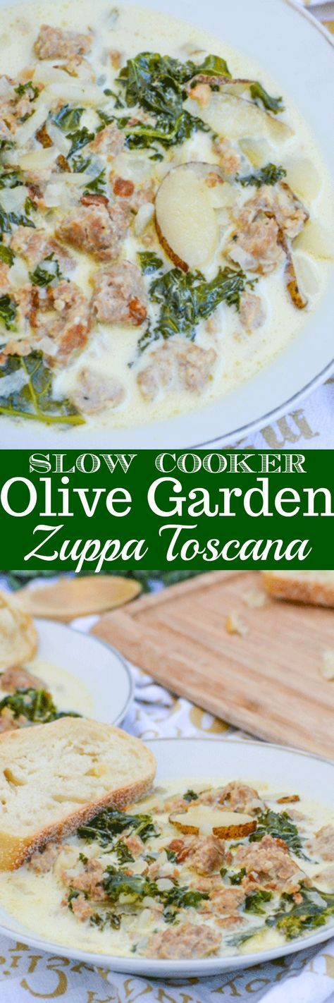 A creamy, cozy rustic soup- this Slow Cooker Copy Cat Olive Garden Zuppa Toscana is the best way to soothe anything that ails you. Loaded with spicy Italian sausage, tender potato slices, and kale, it's a full meal for the whole family when served with a slice of hearty bread.