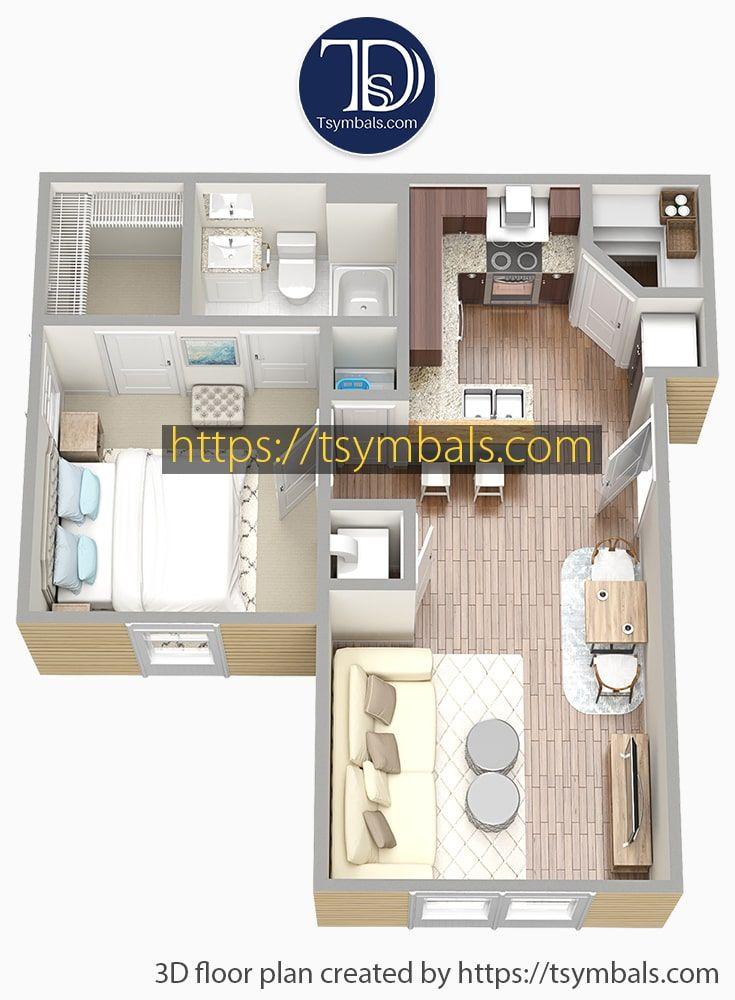 Modern One Bedroom 3d Floor Plans Tsymbals Design Floor Plans Sims House Design Apartment Design