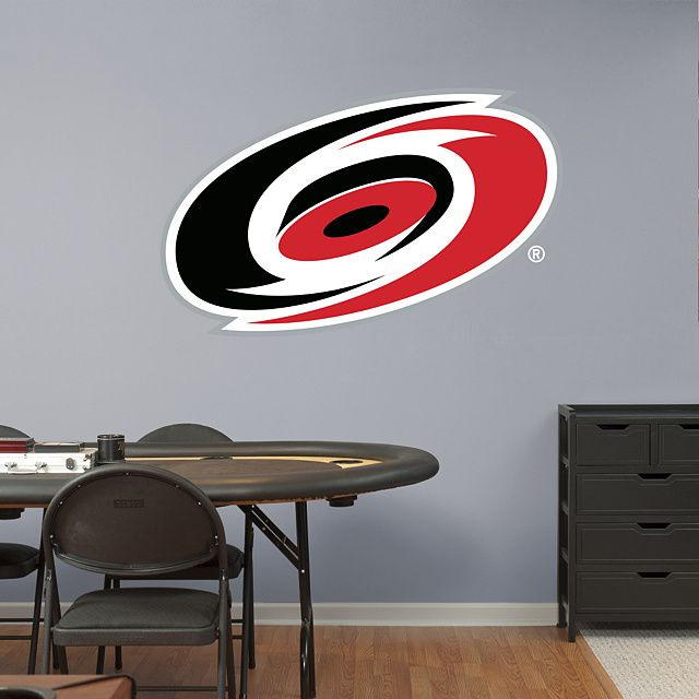 Carolina Hurricanes Logo REAL.BIG. Fathead – Peel & Stick Wall Graphic | Carolina Hurricanes Wall Decal | Sports Home Decor | Hockey Bedroom/Man Cave/Nursery