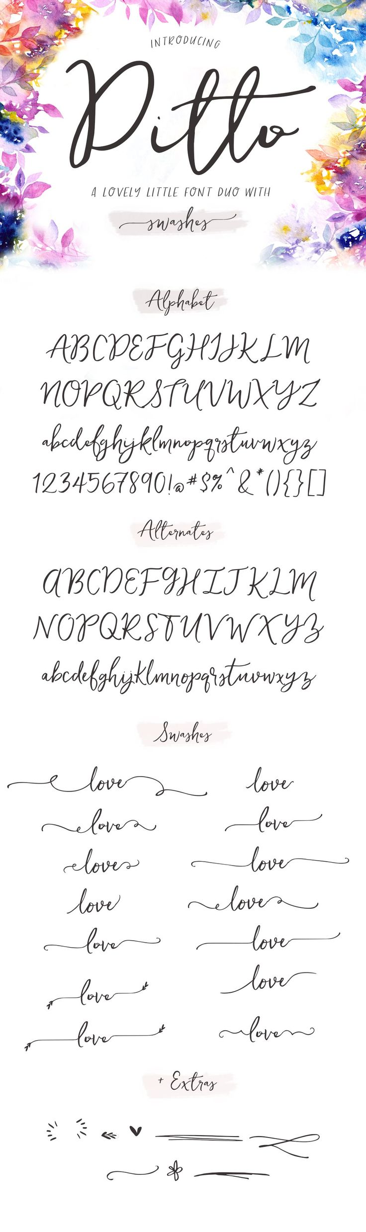 Meet Ditto Swashes Calligraphy Font. Perfect for DIY wedding invitations and graphic design projects. This font has a natural flow and swashes that connect seamlessly for a convincing calligraphy effect.