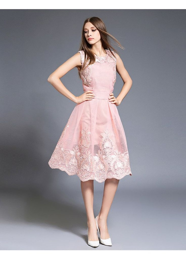 Pink Embroidered Lace Dress