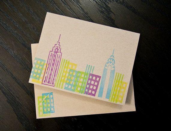 Handmade NYC Skyline Cards / Stationery set of 5 by haleyvray
