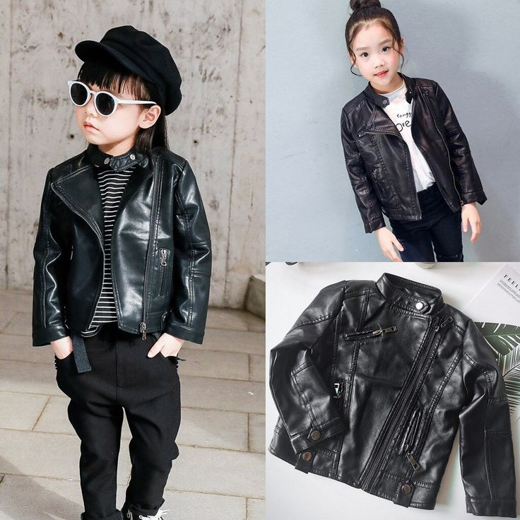 Kids Baby Girl Boy Leather Jacket Autumn Winter