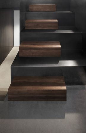 scale in legno e cemento color ardesia - stair design....