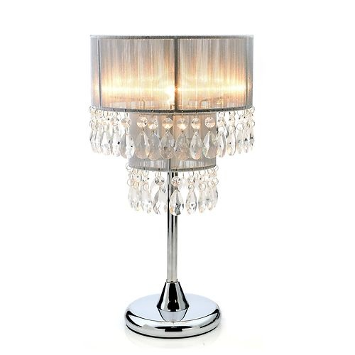 Table bedside lamp diva with silver crystal style shade for Bedside table lamp shades