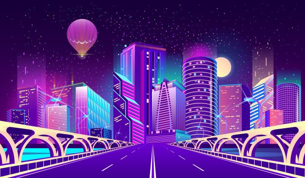 Download Background With Night City In Neon Lights For Free Luz De Neón Fondos De Pantalla Pc Ciudad Futurista