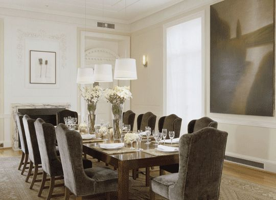 Gray Velvet Chairs: Dining Rooms, Dining Area, Rooms Bathed, Living Room, Dinning Room, Room Ideas, Traditional Homes, Showhouse Rooms, White Dining Room