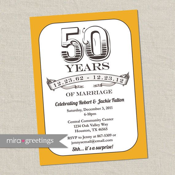 50th Anniversary Invitation Gold Golden Vintage by miragreetings