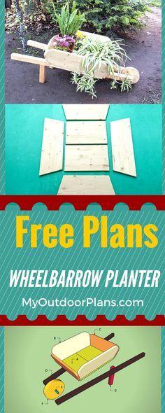 How to build a wheelbarrow planter - Easy to follow plans for building a wood wheelbarrow planter for your garden in just a few hours #diy #garden #planter #decor
