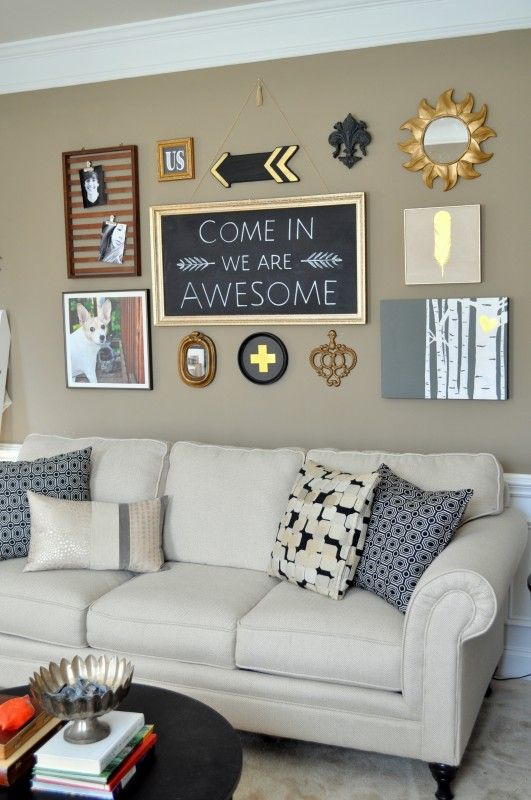 DIY Living room makeover black gallery wall