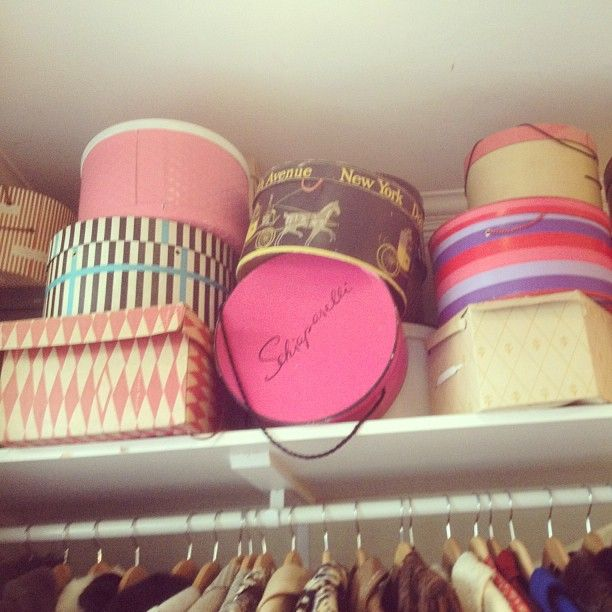 Our hat box collection. Yes that is a Schiaparelli hat box! (Sorry vintage lovers, that ones not for sale!)