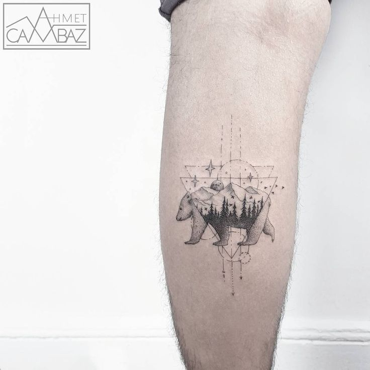 detailed bear tattoo design on the leg