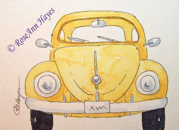 Yellow VW Beetle Bug Print of Watercolor Painting ACEO by RoseAnn Hayes, available in Etsy shop