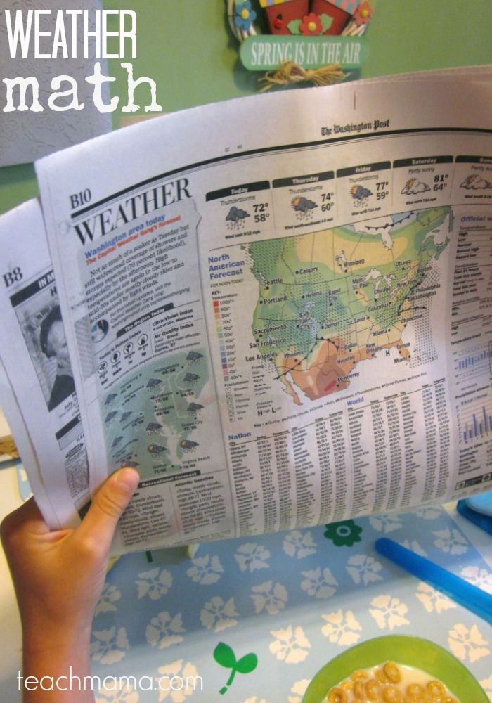weather math | newspaper for math learning teachmama.com --> creating lifetime readers and learners, one day at a time