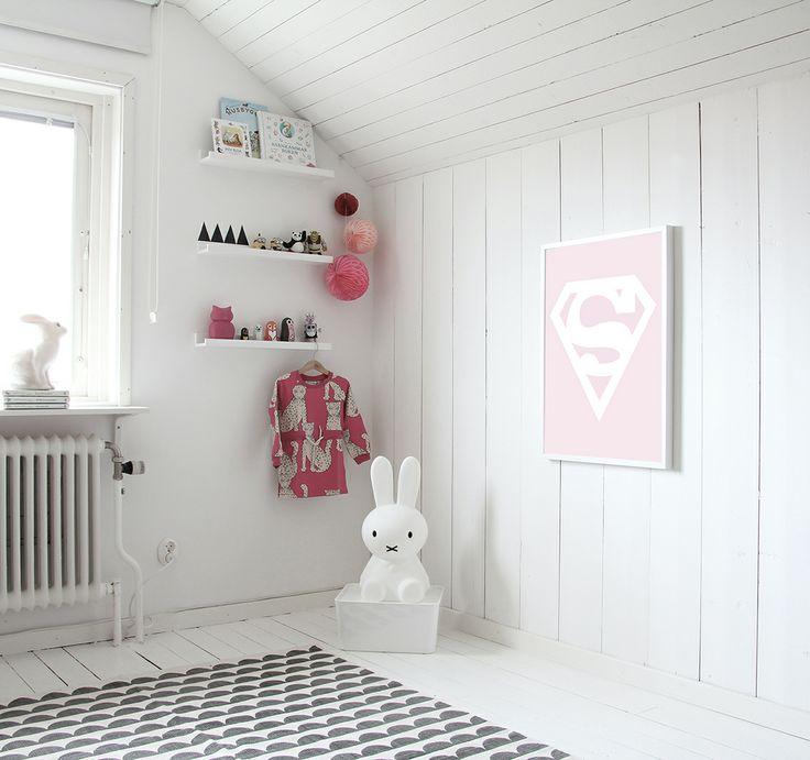 Superwoman print by MiniWilla. Scandinavian kids room. Miffy lamp. White floorboards. #bunnyinthewindow