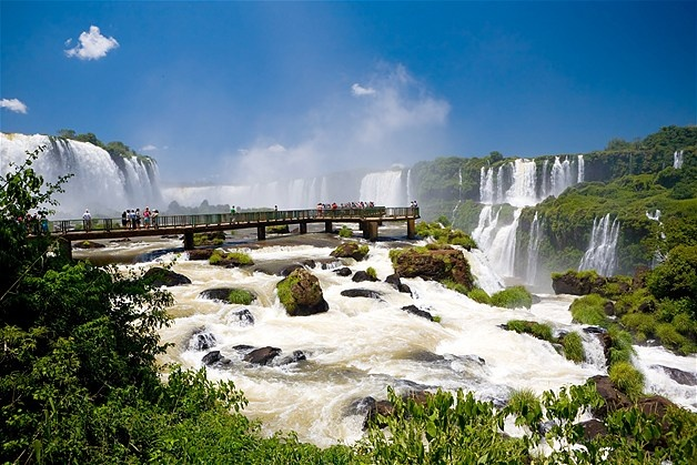 The Iguazu Falls are on the Iguazu River on the border between Brazil and Argentina.