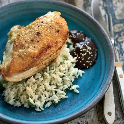 Pan-Roasted Chicken Breasts with Mole Negro Casa Oaxaca is famous for its complex mole sauces, often made with more than 20...
