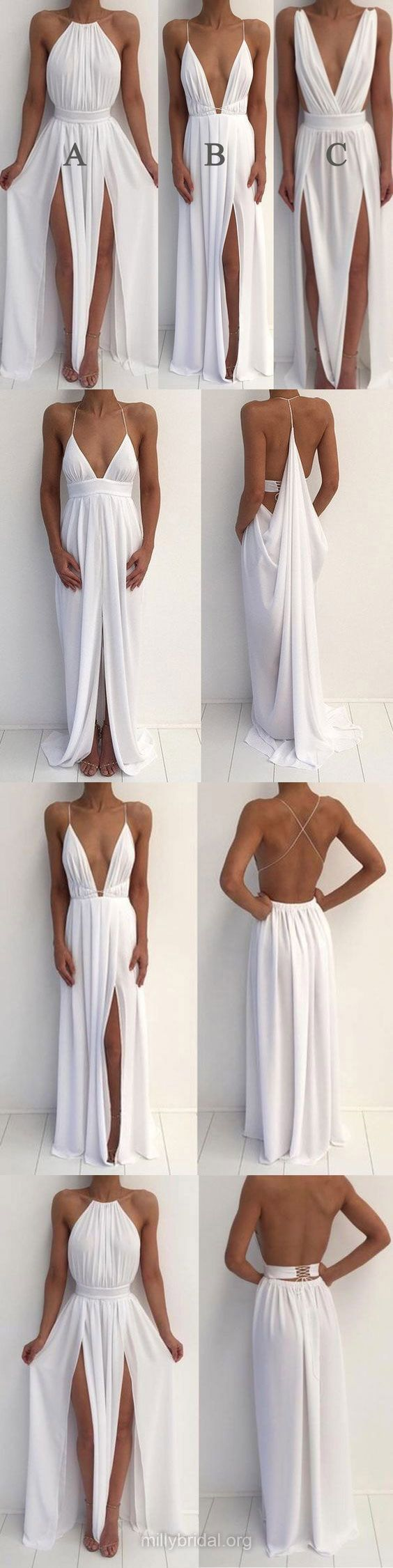 White Prom Dresses, Long Prom Dresses, 2018 Prom Dresses Summer, A-line Prom Dresses For Teens, Halter Prom Dresses Chiffon, Split Front Prom Dresses Backless
