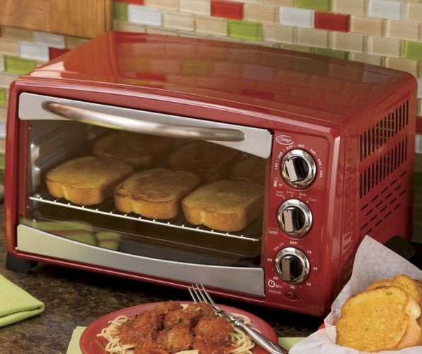 Kitchen Vintage Countertop Convection Bake Retro Toaster Oven with Timer Bell
