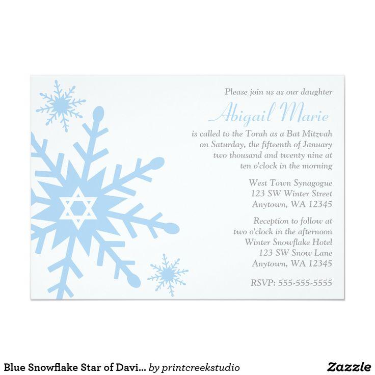 Blue Snowflake Star of David Bat Mitzvah Card