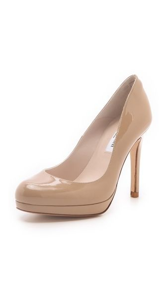 L.K. Bennett Sledge Patent Platform Pumps. I've always wanted a nice pair of nude pumps like this. The heel looks tolerable too!