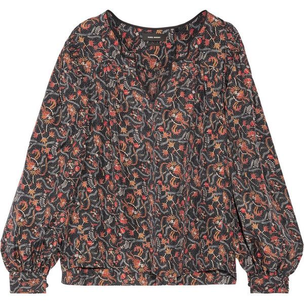 Isabel Marant Ryton printed silk blouse (€190) ❤ liked on Polyvore featuring tops, blouses, black, multi color blouse, silk v neck top, isabel marant, smock top and silk blouse