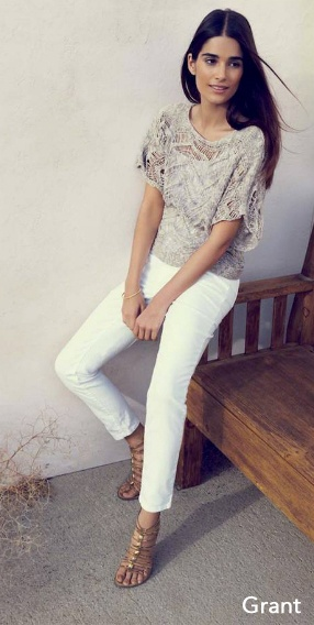 Chic Summer Style: Sam Edelman 'Grant' Gladiator Sandal, White jeans, Loose Knit Top