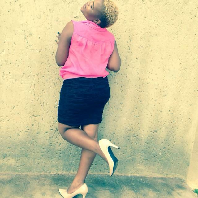 #pinkshirt #blackskirt my nude shoes never disappoint me