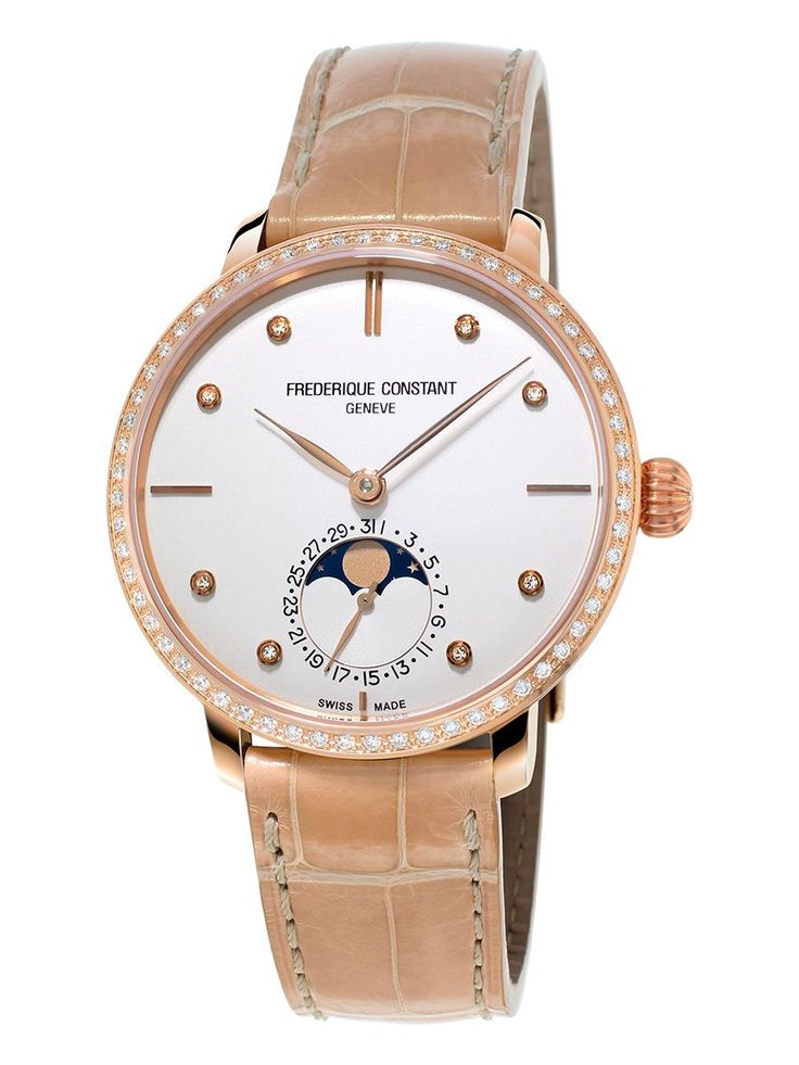 FC-703VD3SD4 - Frederique Constant Automatic movement Watch with 26 jewels, 28'800 alt/h and 42h power reserve, with Hours, Minutes, Seconds, Moonphase, Date by hand Rose gold plated Stainless steel case, diameter of 40.5 mm with Convex sapphire and 2-O-Rings crown, height 12.4mm. Hinged case back, Water-resistant to 3 ATM. Silver Dial with sunray and applied rose gold plated indexes Alligator Strap