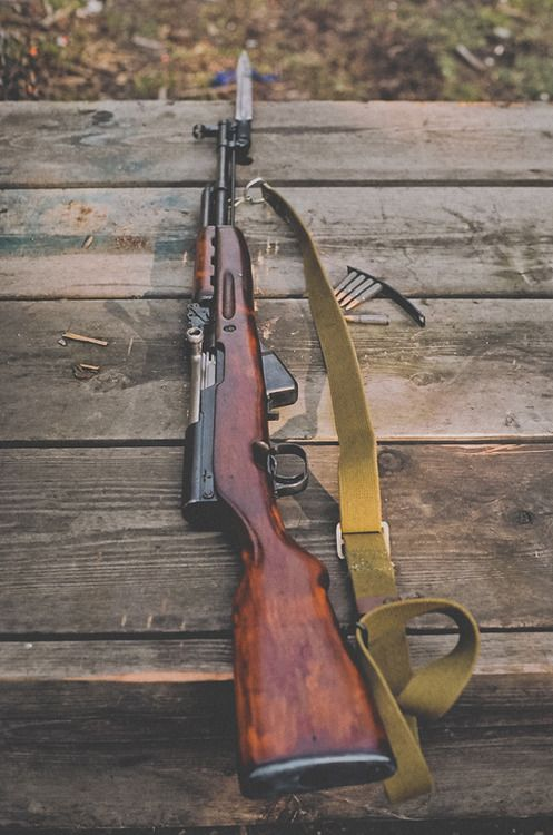 Russian SKS. I love my SKS. (this one is not mine. there are many like it, but this is not mine.)