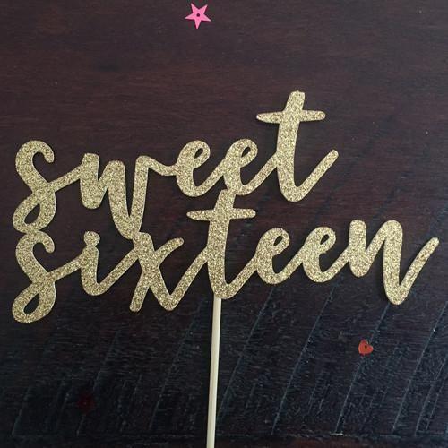 Sweet Sixteen Gold Glitter Birthday Cake Topper