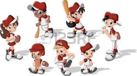 Los niños de dibujos animados vistiendo uniforme de béisbol