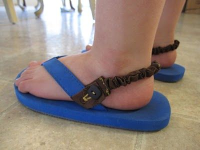 Great idea! My little guy keeps wanting to wear his flip flops but can't walk in them! Can't wait to try!