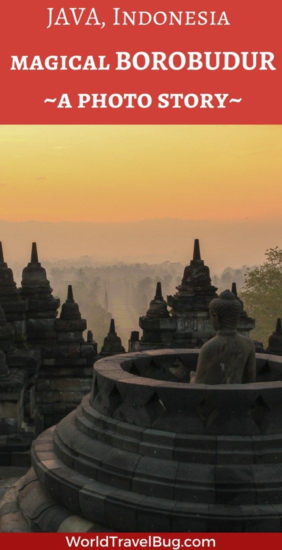 Borobudur, an otherworldly site! Seen from the air, it looks like a mandala, a representation of the cosmos. Viewed from he ground but from afar, the temple has the shape of a stupa.