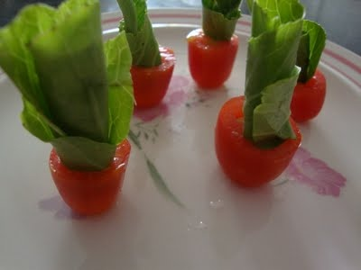 Tomato Flower Pot-Easy idea to garnish a salad plate