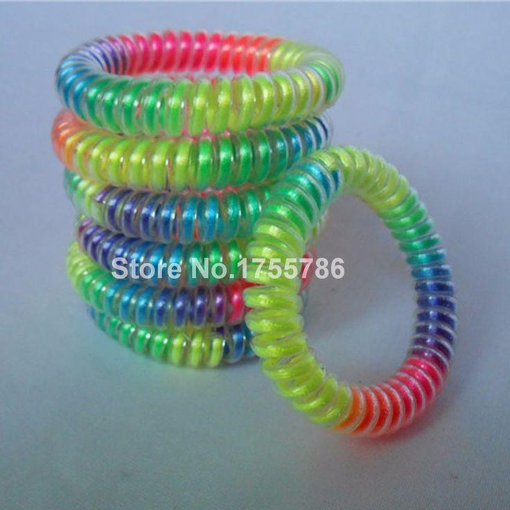 10 stks/partij Nieuwe Regenboog Kleur Telefoon Wire Armband Haar Elastiekjes Elastische Haar Scrunchies Ring Touw Paardenstaart Houder(China (Mainland))