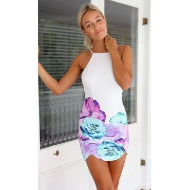 USD12.49Cheap Sexy O Neck Tank Sleeveless Backless Floral Print Polyester Sheath Mini Dress