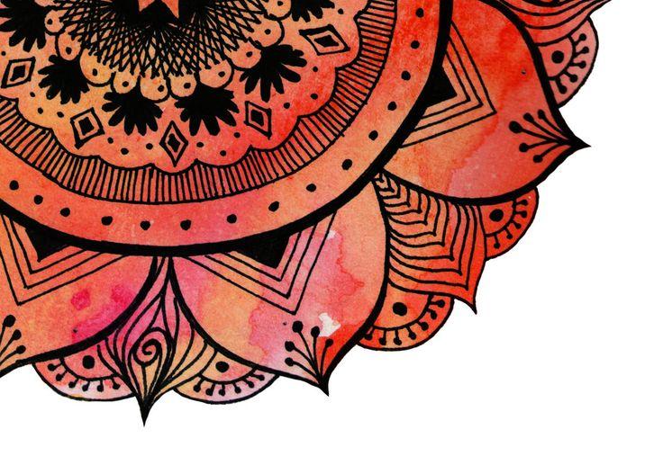 Hand Drawn Mandala Print | Bright Red Mandala Print | Aztec Mandala | Zentangle Mandala | Mandala Art | Mandala Decals | Mandala Design by WestridgeART on Etsy https://www.etsy.com/listing/194958160/hand-drawn-mandala-print-bright-red