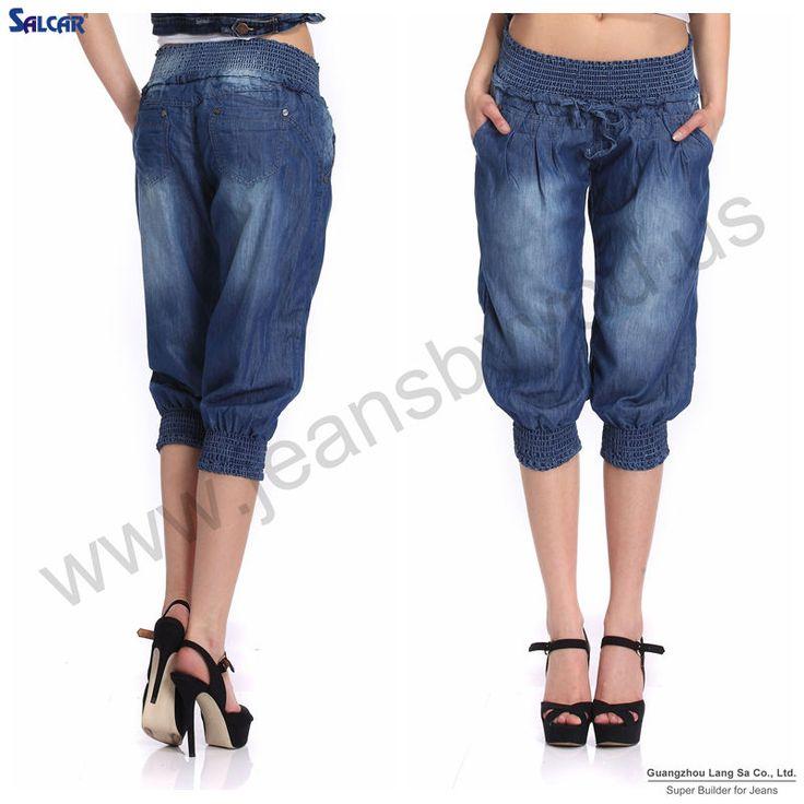 britse stijl vrouwen bijgesneden broek elastische taille yoga elastische onderkant denim jeans