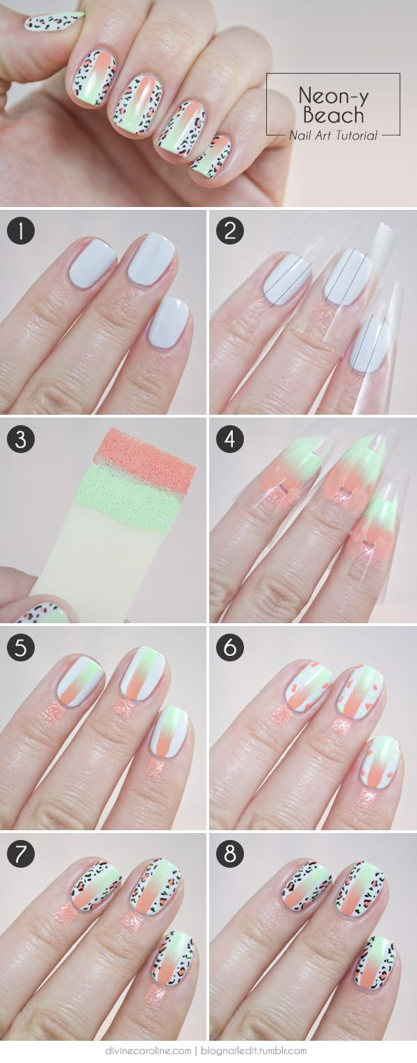 Summer Gradient - Neon and Leopard Print Nail Art Tutorial for Divine Caroline (new way to use ombre!!)