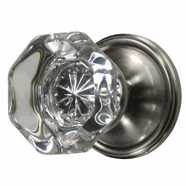 Providence Crystal Octagon Door Knob (Victorian Plate Brushed Nickel) For Bedroom  Doors