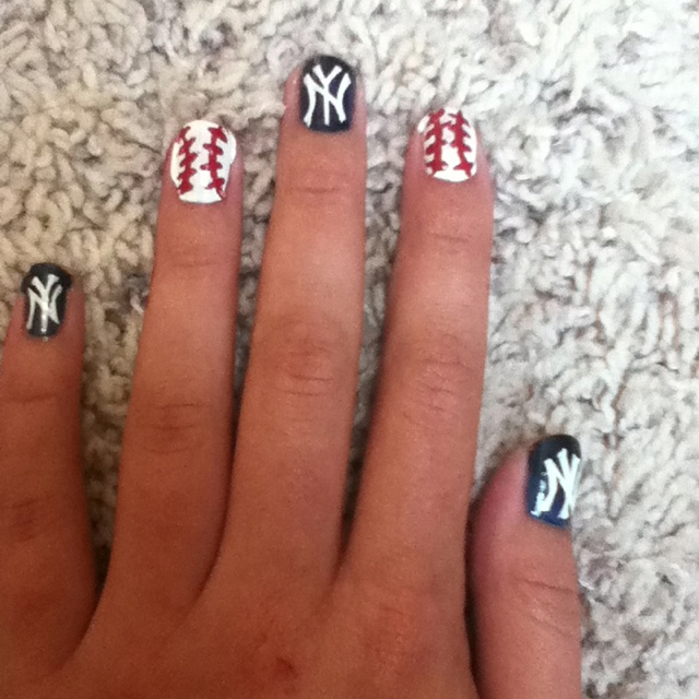 New York Yankees Nail Design : Best images about yankee nails on pinterest nail art