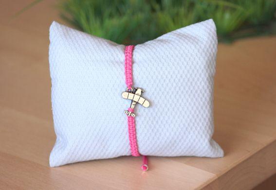 Pulsera avión M02 rosa / Airplane pink bracelet